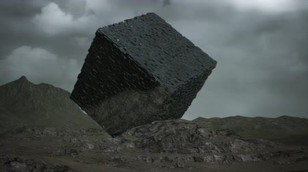 refletir : 4K Alien Cube on Surrealistic Planet Hyper Lapse 3D Animation Stock Footage