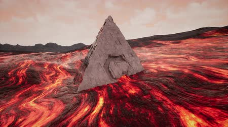 onbekend : 4K Fantasy Pyramid in Extreme Lava Flow Cinematic 3D Animation