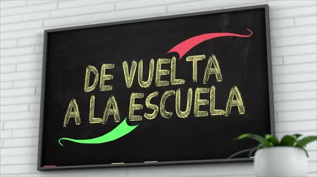 elsődleges : 4K Blackboard with Back to School Spanish Text 2 Stock mozgókép