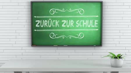 elsődleges : 4K Chalkboard with Back to School German Text 1 Stock mozgókép