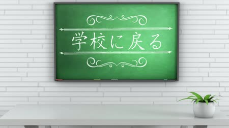 secondaire : 4K Chalkboard with Back to School Japanese Text 1 Vidéos Libres De Droits