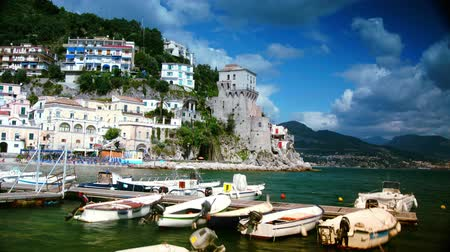 amalfi : Cetara,Amalfi coast,Italy: beautiful view of Cetara,with boats in summer, time lapse
