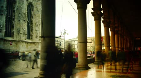 milan : MILAN, ITALY : (Time lapse View, 4k) People walking in front of Duomo Cathedral