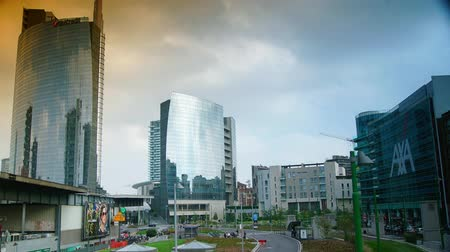 milan : MILAN,ITALY, New district of Porta Nuova Garibaldi - The city of Milan is renewed in anticipation of the universal exposition Stock Footage