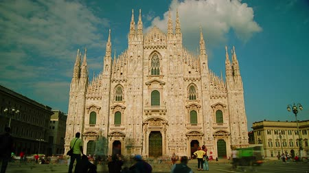 milan fashion : MILAN, ITALY : (Time lapse View, 4k) People walking in front of Duomo Cathedral