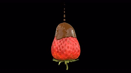 biała czekolada : Strawberry getting covered by chocolate animation