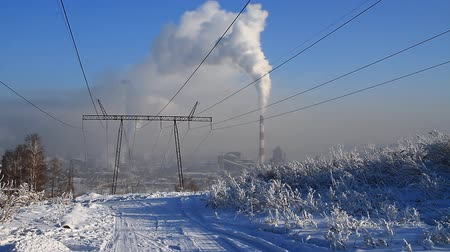 ipari : Coal fired power station and power line Stock mozgókép