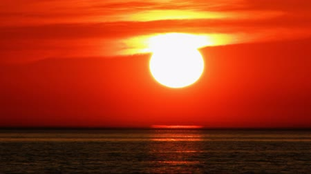 evening sun : Impressive huge sunset. Stock Footage