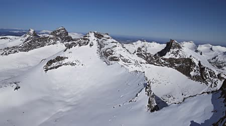 doruk : Winter in mountains from air. Stok Video