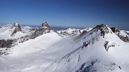 levegő : Winter in mountains from air. Stock mozgókép