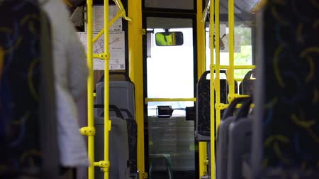 inside bus : Riding in the almost empty city bus Stock Footage