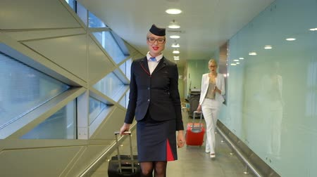 attendant : Stewardess comes with a suitcase on the airport and smiles broadly. Tall woman dressed in black uniforms with orange accents steps forward and looking at your watch. On white hair fixed cap on the face stylish glasses in a dark rim. European lady is happy