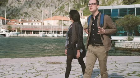 Two young people walk down beach, looking at nature. Attractive caucasian man, wearing glasses, with backpack, brown trousers and windbreaker, walking along seafront and enthusiastically telling interesting story to girlfriend. Beautiful woman, dark-skinn Стоковые видеозаписи