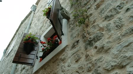 redőnyök : Pots of red flowers and plants are stood on the window. It is beautiful old stone house. All but one windows shuttered. Baskets with bright greens are hung on the fa ade and wooden shutters. Plants and moss are grown on the ancient walls too. Nobody is ar