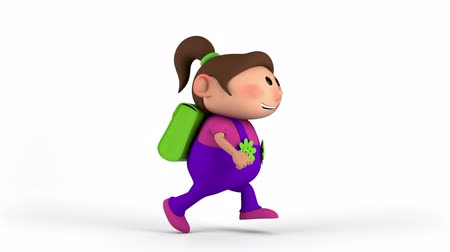 okula geri : school girl with satchel running - back to school concept - high quality 3d animation Stok Video
