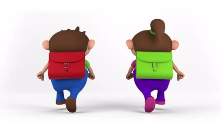 okula geri : school kids with satchel running - back to school concept - high quality 3d animation