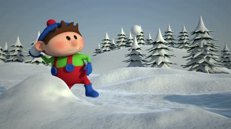 Cute Cartoon Kids having a Snowball Fight - high quality 3d animation - loopable