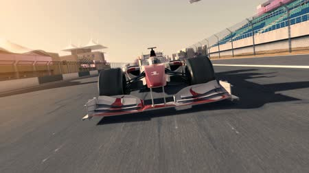 formula one racecar speeding along the racetrack - frontal view - high quality 3d animation - my own car design - no copyrighttrademark infringement