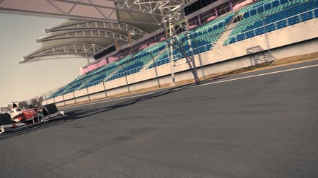 formula one race car speeding along the speedway - high quality 3d animation - my own car design - no copyrighttrademark infringement