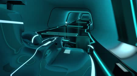 stopy : drivers POV of a formula one racecar speeding along a futuristic tunnel with neon light lines in tron look - high quality 3d animation - my own car design - no copyrighttrademark infringement - loopable