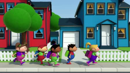 élénkség : cute cartoon children running along a suburban street - high quality 3d animation - loopable