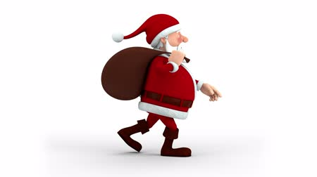 santa : Cartoon Santa Claus with gift bag walking on the spot - right side  view - high quality 3d animation