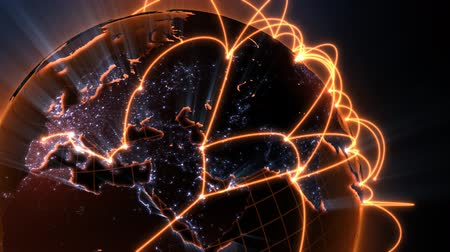 versão : 3d animation of a growing network across the world - orange version Vídeos