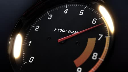 3d animation of tachometer indicating the varying engine RPM