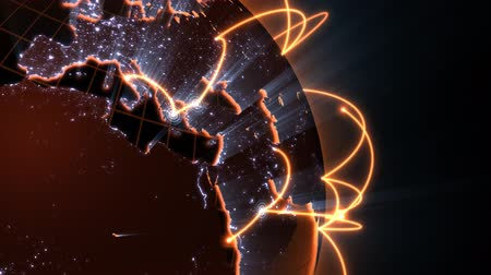 сеть : loopable 3d animation of a spinning globe with a growing global network - orange version Стоковые видеозаписи