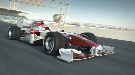 гонка : Formula One race car on desert circuit passing camera - high quality 3d animation  Стоковые видеозаписи