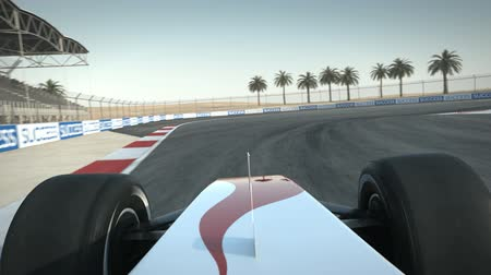 Formula One race car on desert circuit - drivers POV - high quality 3d animation - visit our portfolio for more
