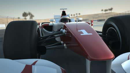 гонка : Formula One race car on desert circuit - close-up front - high quality 3d animation
