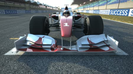 formuła : Formula One race car at start position accelerating - high quality 3d animation