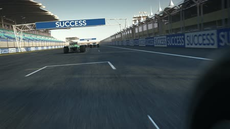 гонка : formula one racecars crossing finishing line - POV - high quality 3d animation - visit our portfolio for more Стоковые видеозаписи