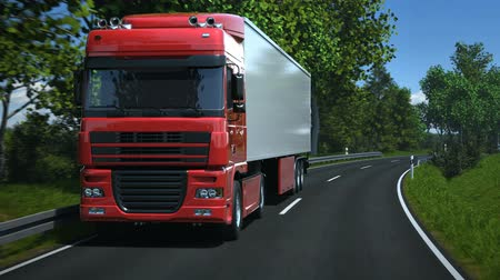 auto estrada : Truck driving along country road - high quality 3d animation
