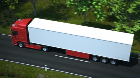 trucks : Truck driving along country road - high quality 3d animation