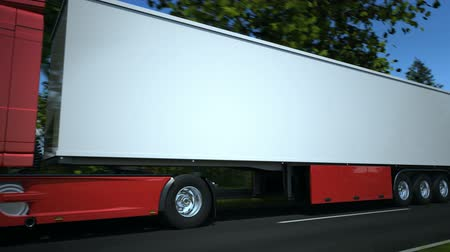 трейлер : Truck driving along country road - high quality 3d animation