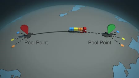распределение : load  shipment consolidation strategies - multi-tier pooling - stylized high quality 3d animation