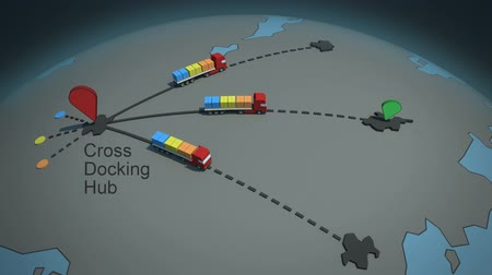 shipping : load  shipment consolidation strategies - hub and spoke cross-docking - stylized high quality 3d animation Stock Footage