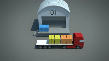 visão global : load  shipment consolidation strategies - multi-stop truckloads - stylized high quality 3d animation