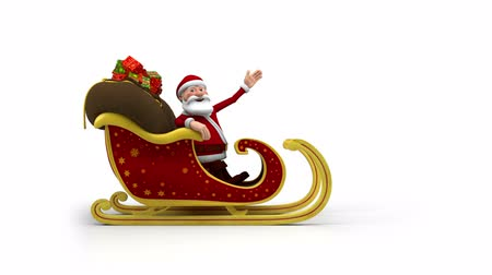 santa : Cartoon Santa Claus riding in his sleigh and waving - high quality 3d animation Stock Footage