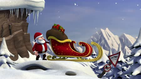 santa : 3d animated short film about Santa Claus trying to take off with his sleigh - version without the text animation - room for your own copy text