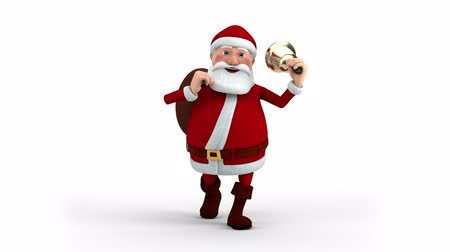 vista frontal : Cartoon Santa Claus walking with gift bag and bell - front view - high quality 3d animation Stock Footage