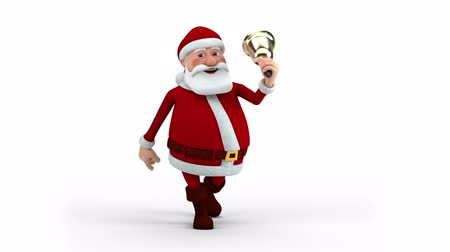 santa : Cartoon Santa Claus walking and ringing christmas bell - front view - high quality 3d animation