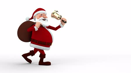 caráter : Cartoon Santa Claus walking with gift bag and bell across the screen - high quality 3d animation Vídeos