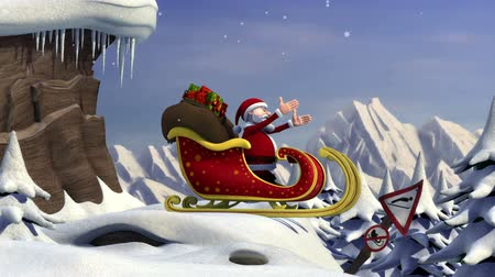 С Рождеством : Cartoon Santa Claus using a ski jump to take off with his sleigh - high quality 3d animation