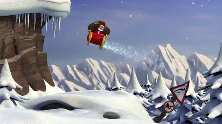 toló : Cartoon Santa Claus using a ski jump to take off with his sleigh - version without text - high quality 3d animation