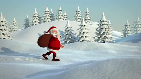 santa : santa claus walking through snowy landscape