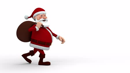 caráter : Cartoon Santa Claus with gift bag walking across screen and smiling into camera Vídeos