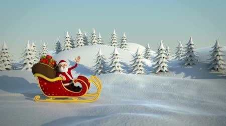 santa : cartoon santa claus driving in his sleigh through snowy landscape